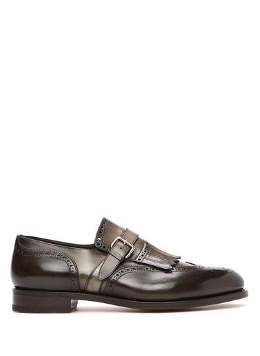 Santoni %100 Deri Kemerli Ayakkabı Yeşil